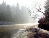 Misty morning, frozen lake, path to unknown, sunbeams, sunrays, landscape photograph, fall, autumn