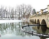 Landscape with bridge, water reflection, winter landscape, tree reflection, frozen lake, Giclee print, 12x8, title: Winter Reflections