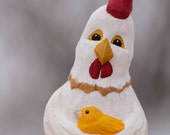 Hand Carved Chicken Holding Chick, Folk Art, Whimsical, Caricature,OOAK, Handmade in Ohio, Gift for Chicken Lover,Chicken Art,Basswood