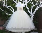 Flower Girl Dress.Ivory with Burlap TuTu Dress.Girls wedding tutu dress.Girls clothing.baby tutu dress, toddler tutu dress, wedding,birthday