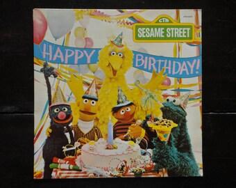 Vintage Vinyl Record-Sesame Street-Happy Birthday-1977-Jim Henson-The Muppets-Rare