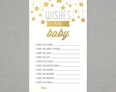 Wishes for Baby - Baby Shower Printable - Immediate Download - Gold Stars