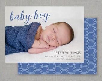 Photo Birth Announcement  //  Baby Boy Script