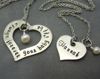 Always forever your baby i'll be, hand stamped stainless steel mother daughter necklace set- 2 necklaces
