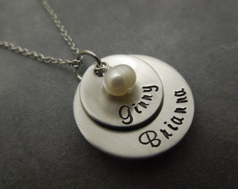 Personalized Mothers necklace ,3 disc hand stamped and domed stainless steel