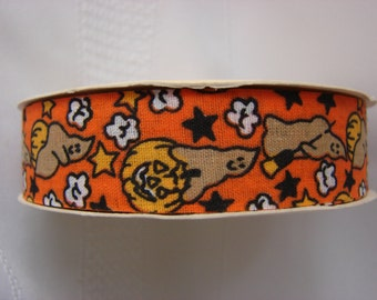 """Great Vintage Spool of Halloween Ribbon by United Cut Products Inc. 10 feet Long 7/8"""" wide"""