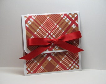 Brown Red and White Plaid Christmas Gift Card Holder