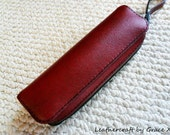 100% hand stitched handmade red cowhide leather pencil / pen case / pouch / holder