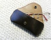 100% handmade hand stitched dark brown cowhide leather eyeglasses / sunglasses case