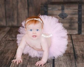 Pink Baby Tutu, Light Pale,  Full Fluffy, Ready To Ship, Newborn Tutu, 3 6 9 12 18 Months