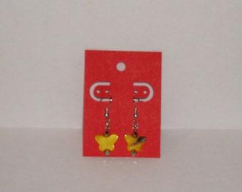 "1"" L  x  1/4"" W   Yellow Shell Butterfly w/ Matching Crystal Earrings"