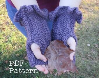 Flirty Ruffled Fingerless Gloves Mittens Knitting Pattern PDF Digital Easy Handwarmers