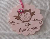 Set of 12  Pink Scallop Thank You Owl Tags - Favor Gift Tags - Party Tags - Baby Shower - Birthday Party