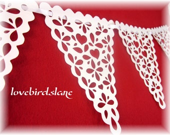 Heart Lace Pennant Banner, Wedding Banner, Valentine Decoration