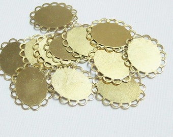 20/Raw Brass Flat Lace Bases/Brass Stampings
