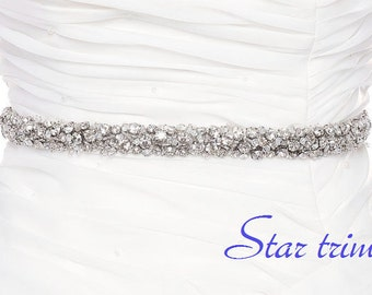 SALE SWARVOSKI Crystal wedding bridal beaded sash , rhinestone  belt