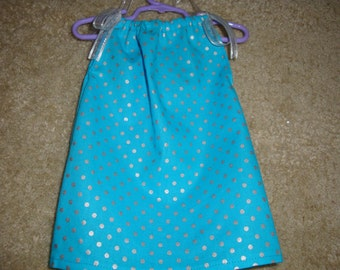 Teal or Red with Silver Dot PillowCase Dress for 18 Inch Doll