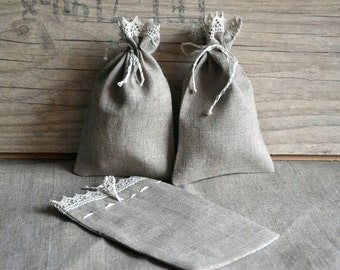 Handmade Linen Gift Wedding Bag Herb Bag