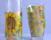 SALE 30% OFF! RARE Georges Briard - Gold Yellow Sunflowers Lowball Glasses & Decanter