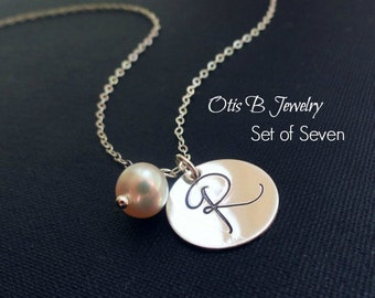 Bridal jewelry SET OF SEVEN:  script Initial Necklaces, Personalized Bridesmaid gifts, custom necklaces, Bridesmaid jewelry, pearl necklaces