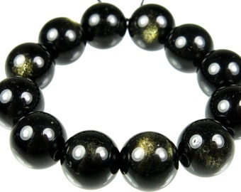 Golden Obsidian Round Bead - 10mm - 12 Pieces - B2730