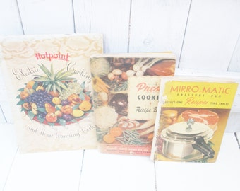 Three vintage canning recipe books 1940s 1950s pressure cooker Hotpoint electric cooking