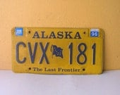 Alaska 1996 License Plate, jewelry and craft supplies, Garage Wall Hanging