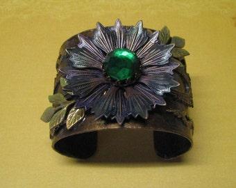 Bohemian Flower Cuff Bracelet, Emerald Green Rhinestone Cuff Bracelet, Bohemian Bracelet, Boho Bracelet, Boho Jewelry, Flower Power Jewelry