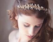 Golden Flower Hair Vine, Gold Bridal hair vine, Bridal Hair Accessories, Gold bridal wreath, Bridal Halo, Wedding Hair Piece, READY to SHIP