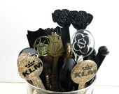 Vintage Cocktail Stirrers Swizzle Sticks Hors Doeuvres Picks Mixed Lot Black Gold Clear Set of 29