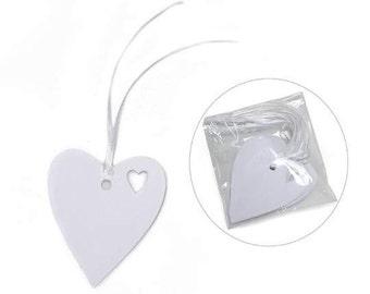 Tags White Heart with Satin Ribbon pcs.25