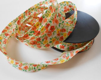 "Bias Tape Binding Cotton Yellow/Orange Flowers 1"" width 10 Yards"