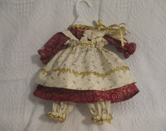 "Handmade 4 pc Christmas Raggedy Ann Doll dress for a 18-20"" Doll made by Jodi Lynn"