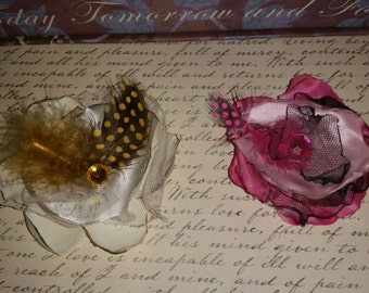 Unique set of 2 layered flower hair clips/yellow and pink flower hair clips/ flower hair clips