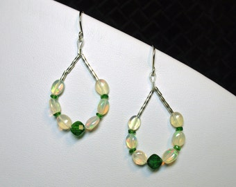 Ethiopian Opal and Chrome Diopside Earrings in Silver