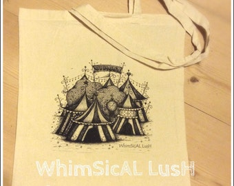 WhimSicAL LusH Night Circus Bag - Illustrated Cotton Tote Bag by WhimSicAL LusH