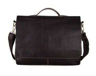 50% OFF Large dark brown distressed genuine leather messenger bag laptop bag or travel bag
