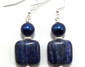 Lapis Lazuli & Blue Pearl Earrings