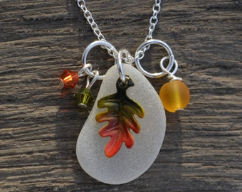 Sea Glass Jewelry with Enamel Leaf and Autumn Charms Necklace