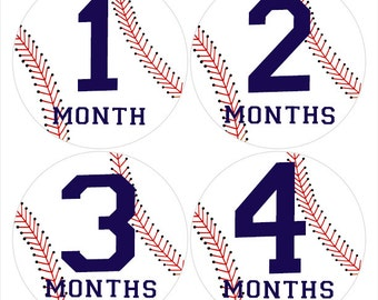 Baseball Baby Stickers, Red and Blue Bodysuit Stickers, Milestone Stickers, Monthly Age Stickers, Baseball Nursery Decor (236)
