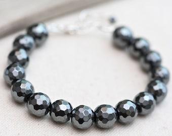 Gray Stacking Bracelet, Stacking Gemstone Bracelet, Hematite Bracelet, Beaded Gemstone Bracelet, Sterling Silver Bracelet