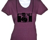 Camera with Strap Retro Vintage T Shirt - American Apparel Tshirt tee - S M L Xl (Color Options)