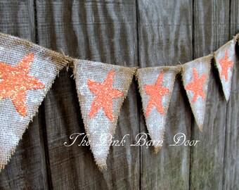 Glitter Star Fish summer burlap banner