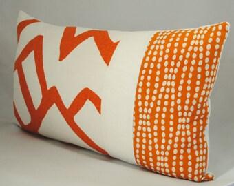 NEW!-Designer Pillow Cover-ZIMBA- Schumacher Pillow-Orange-Color Blocked-12x20