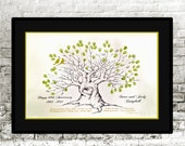 Wedding Anniversary Guest Book Alternative, Lovely Large Twisted Root Tree with Heart knothole, Rustic fingerprint thumbprint Guestbook,