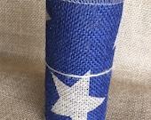"Blue Star Burlap Ribbon 5.5"" x 10 ft Wedding Decor Jute Wreath Spring Summer July 4th Hero Military Memorial Day"