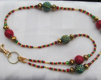 Christmas Ornament Lanyard Chunky Red Green Gold ID Badge Beaded Lanyard Necklace