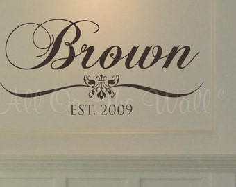 Family Wall Decal Last Name Vinyl Wall Decal Personalized Home Decor Wedding Gift Vinyl Lettering Custom Decals Home Decals Foyer Kitchen