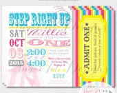 Carnival, Circus Birthday Party Invitation, Vintage Carnival Theme Party Invite, Pink and Turquoise - Step Right Up - 5x7 PRINTABLE