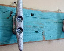 Turquoise Boat Cleat Hooks Nautical Decor Recycled Wood Ocean Beach Decor Coastal Decor Key Hooks Beach Towel Hooks Upcycled Shabby Chic